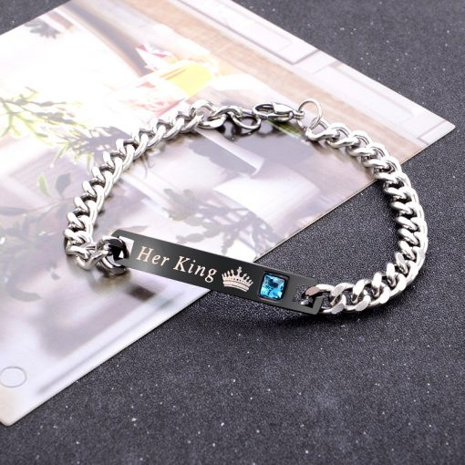"""His queen her king"" Crown Letter Couple Bracelet Set Manufacturer Wholesale HYue-066"