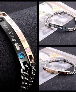 """His queen her king"" Crown Letter Couple Bracelet Set Manufacturer Wholesale HYue-066"