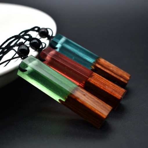 Solid Wood Pendant Solidified Resin Handmade Sweater Chain Ocean Female Necklace Wholesale HYue-041