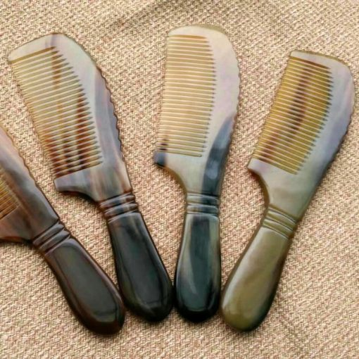 Boutique Natural Yellow Horn Horn Round Handle Comb Wholesale GLGJ-204