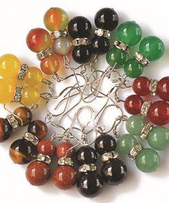 Natural Tiger Eye Garnet Color Agate Earrings Mixed Batch GLGJ-111