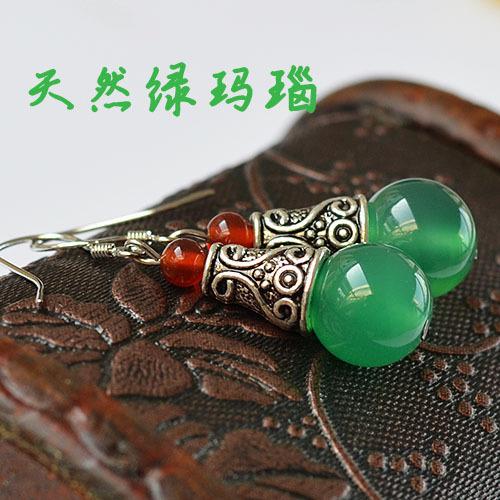 Natural Red Green Agate Jade Tiger Eye Ancient Silver Fashion Earrings GLGJ-123