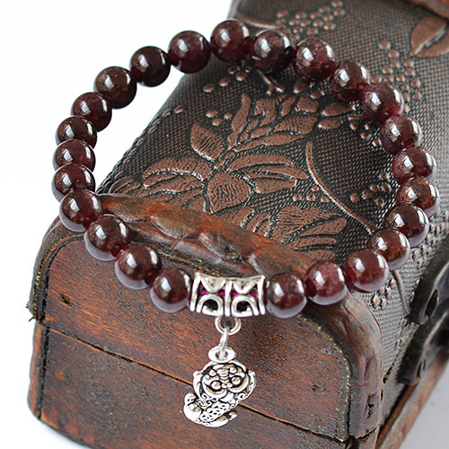 6-7mm natural garnet bracelet hanging ancient silver brave bracelet GLGJ-190