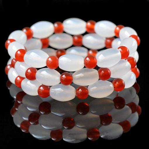 8x12mm natural white and red agate fashion wild bracelet GLGJ-121