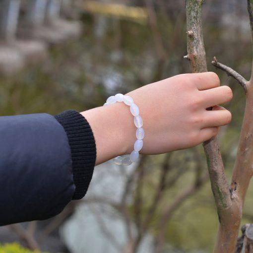 Natural ice white agate simple wild bracelet GLGJ-106