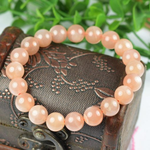 8mm fine 3A natural orange moonstone finished elastic line bracelet GLGJ-148
