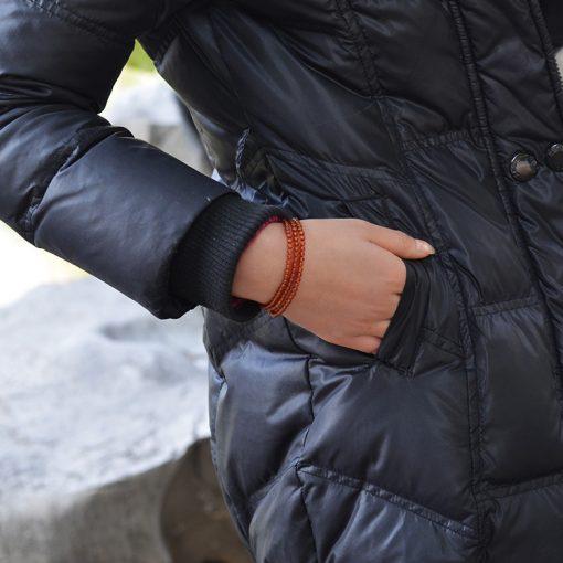 Boutique 3A grade 3 mm 3 circle orange garnet bracelet GLGJ-135