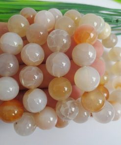Natural 12mm Natural Millimeter Pink Cracked Agate Finished Bracelet Wholesale GLGJ-098