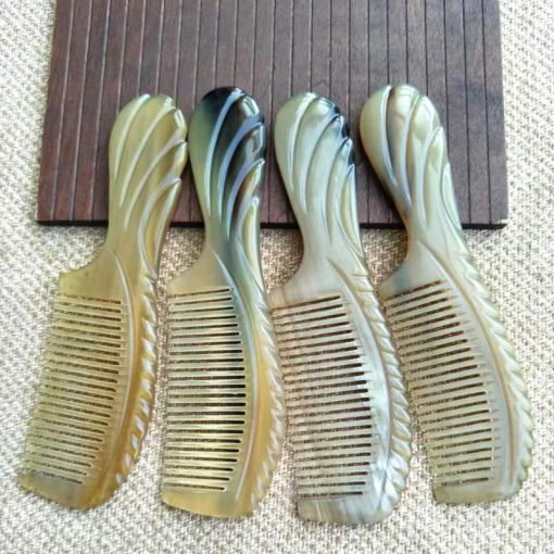Boutique flower handle beauty health dense tooth horn comb wholesale GLGJ-203