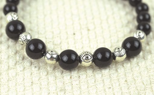 6-8mm natural black agate ancient silver bracelet wholesale GLGJ-122
