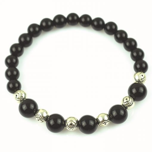 6-8mm natural black agate ancient silver bracelet wholesale GLGJ-122