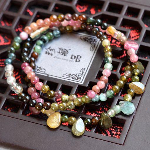 3-4mm Fine Grade A Natural Tourmaline Princess Necklace GLGJ-131