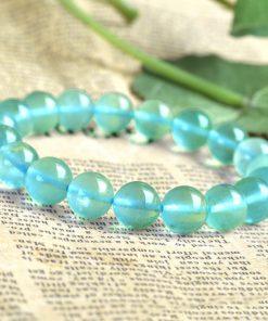Brazil 3A ice type 6-12mm natural blue fluorite bracelet cool summer beautiful attractive GLGJ-137