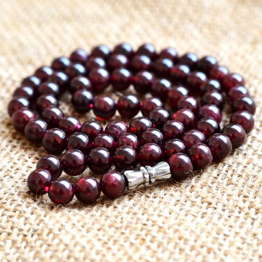 AA grade 6mm natural garnet female necklace wholesale GLGJ-170