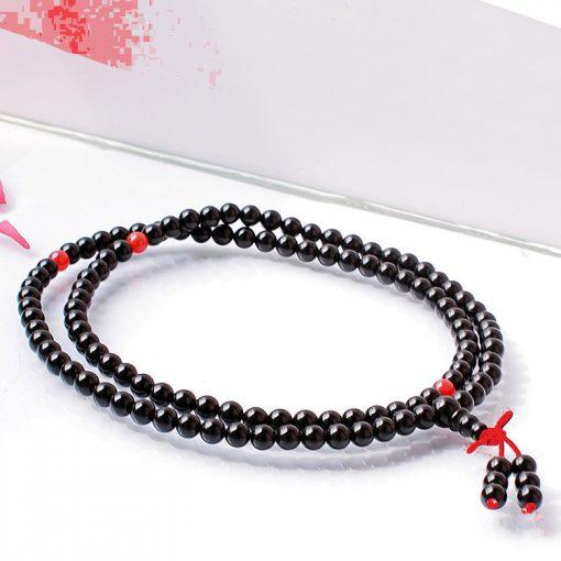 6MM 108 grain natural black red agate bracelet GLGJ-108