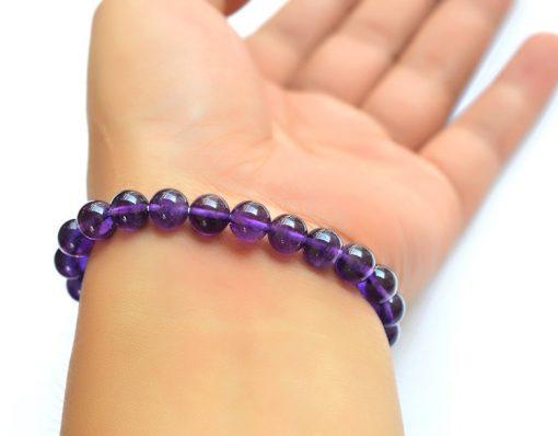 Boutique AA grade 6-8mm natural purple charm gem crystal bracelet GLGJ-145