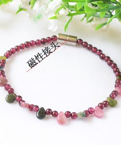 4A Grade 3mm Natural Garnet Tourmaline Magnet Bracelet Easy to Use GLGJ-147