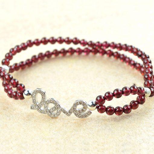 Alloy Full Diamond LOVE Boutique 4A Grade Rose Red Garnet Bracelet GLGJ-193