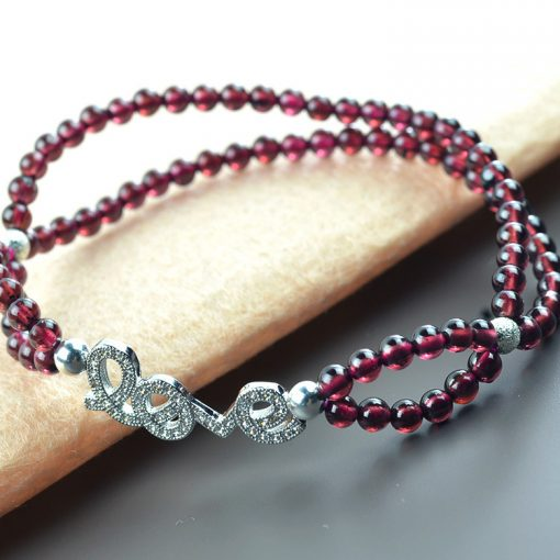 Alloy Full Diamond LOVE Boutique 4A Grade Rose Red Garnet Bracelet GLGJ-193