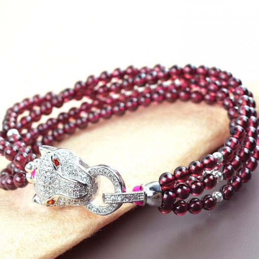 4mm boutique 2A garnet four circle matte silver plated leopard head bracelet wholesale GLGJ-191