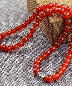 8mm natural red agate wild necklace factory direct supply length about 18.5 inches GLGJ-105