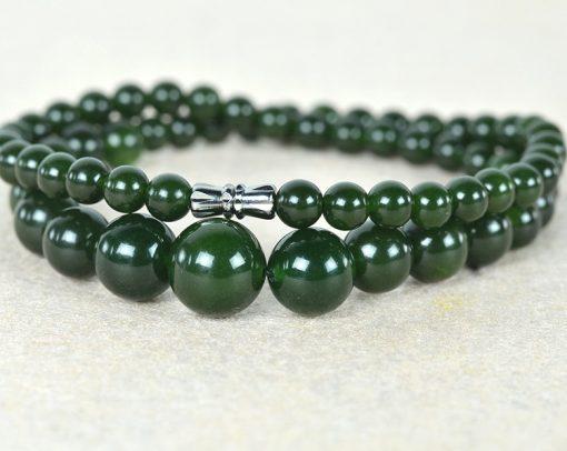 6-14mm Women's Natural Russian Jasper Necklace Wholesale-Dark Green GLGJ-168