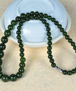 6-14mm Women's Natural Russian Jasper Necklace Wholesale-Dark Green GLGJ-168