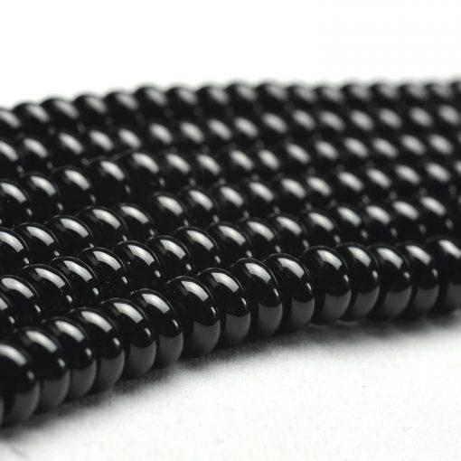 Boutique A grade natural black agate disc beads DIY accessories GLGJ-101