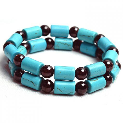 11 * 7mm blue turquoise and natural 7mm garnet bracelet wholesale GLGJ-194