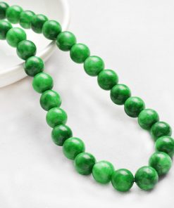 10mm Lady Natural Cold Jade Gemstone Necklace-Green GLGJ-167