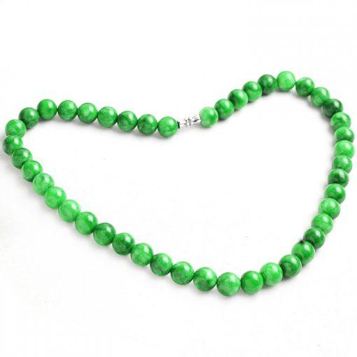 10mm Lady Natural Cold Jade Gemstone Necklace-Green GLGJ-167