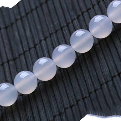 Fine A grade natural white agate DIY loose beads wholesale GLGJ-099