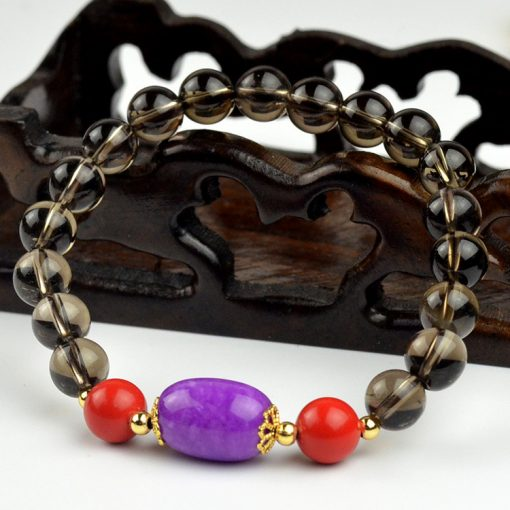 Natural A-grade brown crystal bracelet with emperor stone yellow agate and perilla stone cinnabar bracelet GLGJ-136