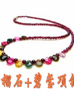 4A boutique natural garnet + tourmaline princess necklace GLGJ-130