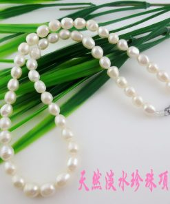 7 × 9mm natural freshwater pearl rice-shaped pearl necklace wholesale GLGJ-160