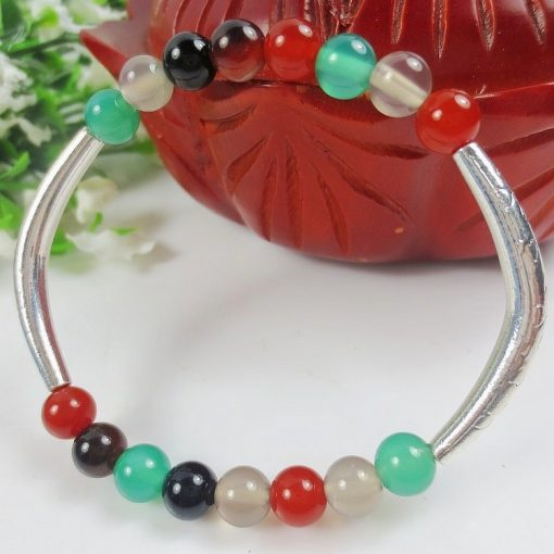 6MM Ancient Silver Alloy Elbow Agate Gem Ethnic Bracelet GLGJ-117