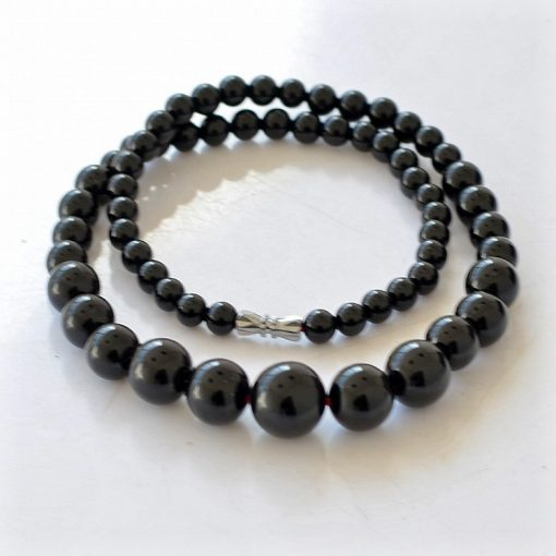 6-14mm natural black agate female necklace wholesale GLGJ-1746-14mm natural black agate female necklace wholesale GLGJ-174