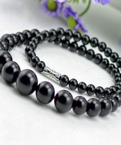 6-14mm natural black agate necklace agate gemstone chain GLGJ-110