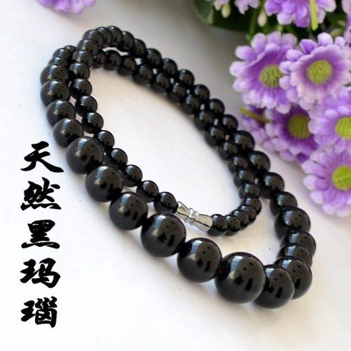 6-14mm natural black agate female necklace wholesale GLGJ-1746-14mm natural black agate female necklace wholesale GLGJ-174