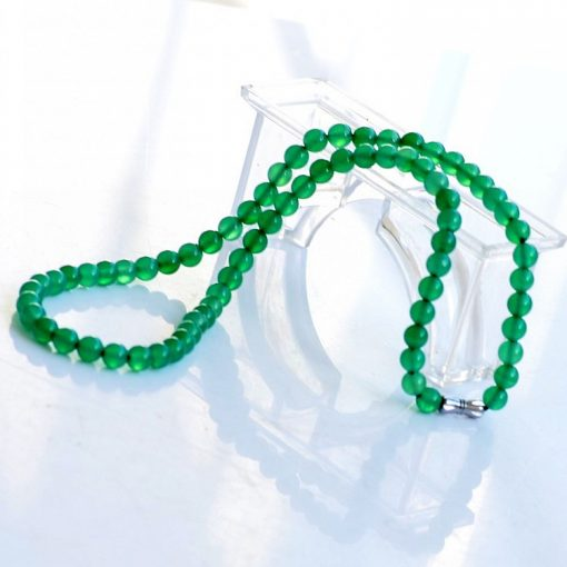 6mm natural green agate gemstone necklace wholesale GLGJ-116