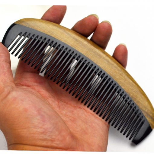 Fine green sandalwood combined horns back comb Fine beauty health dense tooth comb wholesale GLGJ-201