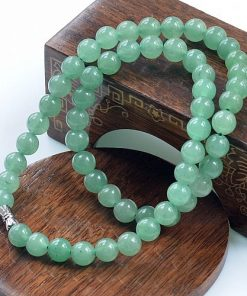 8 ~ 10mm Natural Green Aventurine Round Beads Jade Necklace Wholesale GLGJ-163