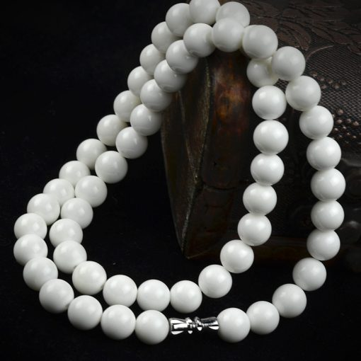 6-12mm white shell bead tower chain 8mm natural white shell bead straight-through necklace GLGJ-166