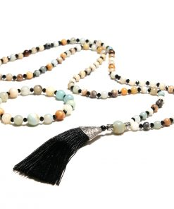 European and American popular 6mm natural Amazon stone black crystal long tassel necklace + bracelet set XH-222