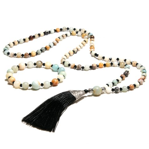 European and American popular 6mm natural Amazon stone black crystal long tassel necklace + bracelet set XH-222