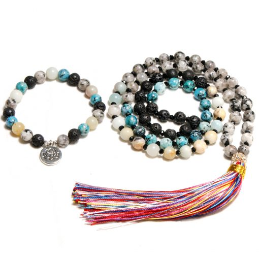 8mm Natural Stone Tassel Long Necklace Hot Sale Yoga Buddha Lotus Clothes Charm Chain XH-227