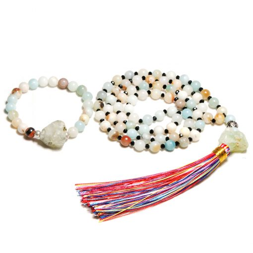 8mm Natural Amazon Stone Mixed Color Tassel Necklace Bohemian Style Long Clothes Accessories Bracelet Set XH-229