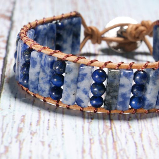 Summer best-selling creative natural lapis lazuli hand-woven leather bracelet XH-254