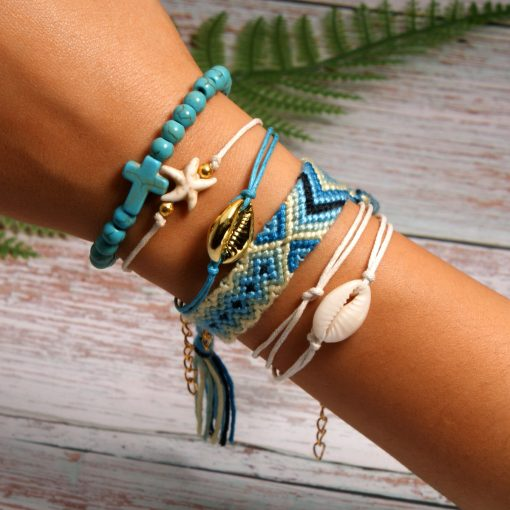 Best-selling shell starfish cross boho style cotton braided friendship bracelet combination mixed batch XH-258