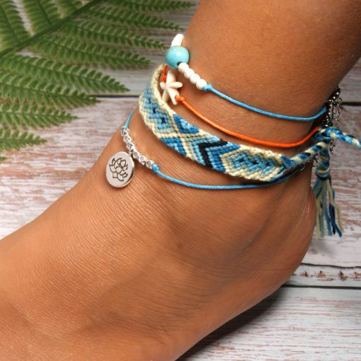 Hot Starfish Lotus Anklet Set Bohemian Cotton Thread Friendship Beach Set Anklet Mixed Batch XH-235